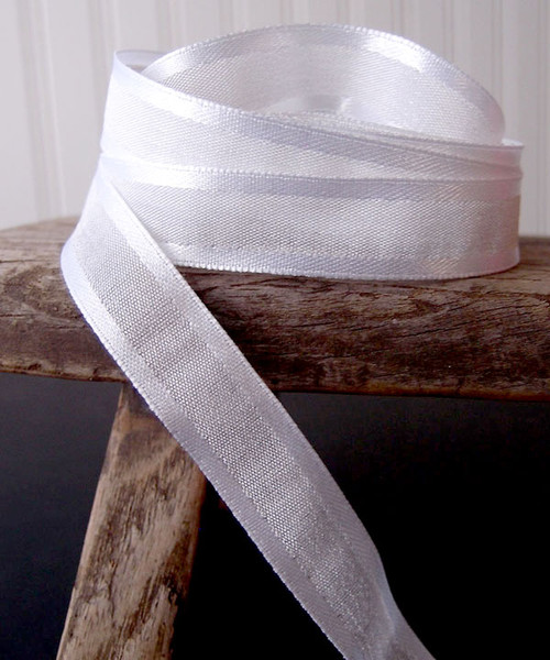 White Faux Linen Ribbon with Satin Edge (3 sizes)