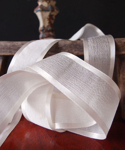 Ivory Faux Linen Ribbon with Satin Edge (3 sizes)