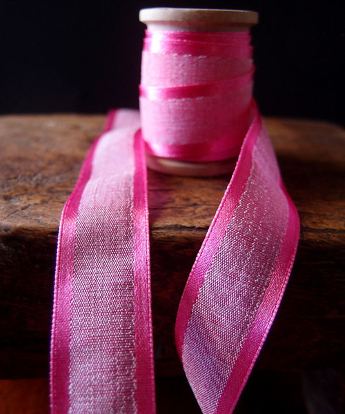Hot Pink Faux Linen Ribbon with Satin Edge (3 sizes)