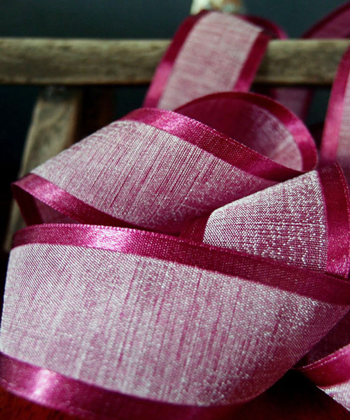 Burgundy Faux Linen Ribbon with Satin Edge (3 sizes)