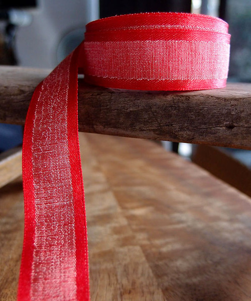 Red Faux Linen Ribbon with Satin Edge (3 sizes)