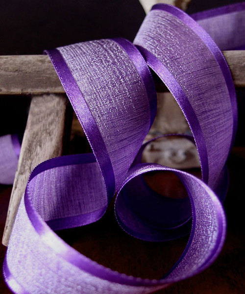 Purple Faux Linen Ribbon with Satin Edge (3 sizes)