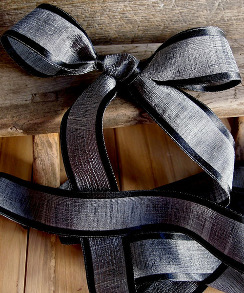 Black Faux Linen Ribbon with Satin Edge (3 sizes)