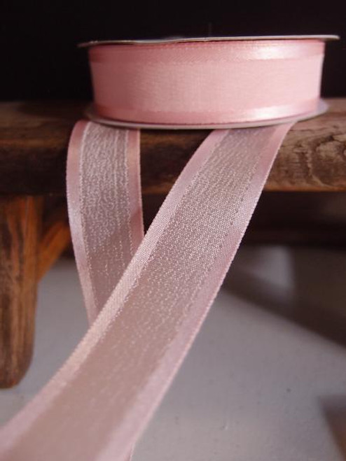 Pink Faux Linen Ribbon with Satin Edge (3 sizes)