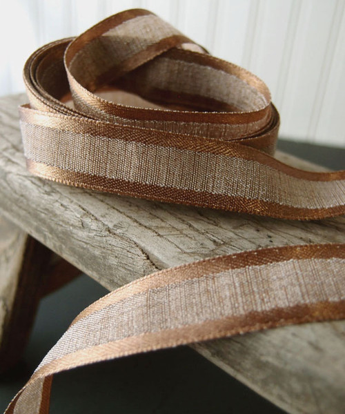 Chocolate Faux Linen Ribbon with Satin Edge (3 sizes)