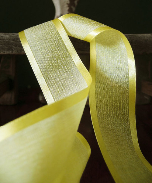 Yellow Faux Linen Ribbon with Satin Edge (3 sizes)