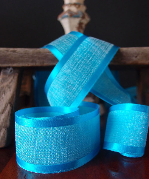 Turquoise Faux Linen Ribbon with Satin Edge (3 sizes)