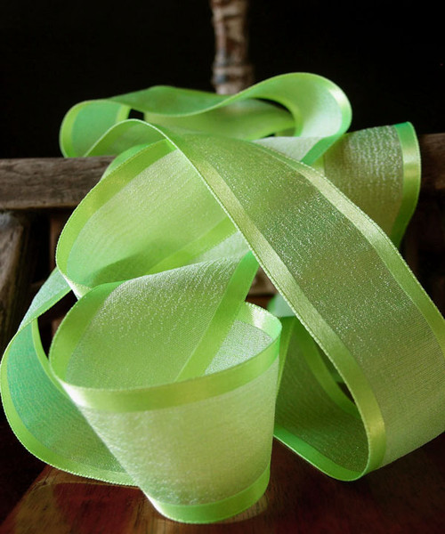 Neon Green Faux Linen Ribbon with Satin Edge (3 sizes)
