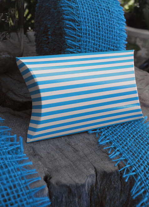 "Paper Pillow Box-Blue Stripes 3 1/2""x3""x1"""