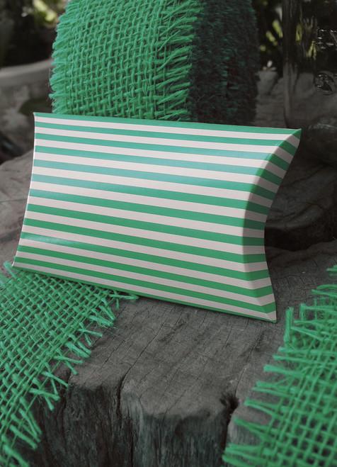 """Paper Pillow Box-Green Stripes 3 1/2""""x3""""x1"""""""