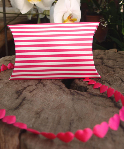 "3 1/2""x3""x1""Paper Pillow Box-Hot Pink Stripes"