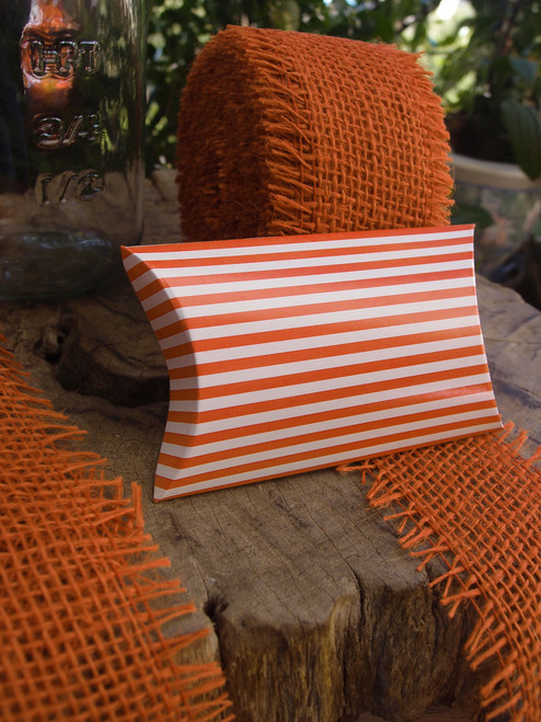 "Paper Pillow Box-Orange Stripes 3 1/2""x3""x1"""