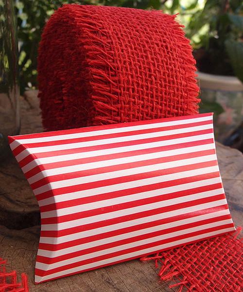 """Paper Pillow Box-Red Stripes 3 1/2""""x3""""x1"""""""