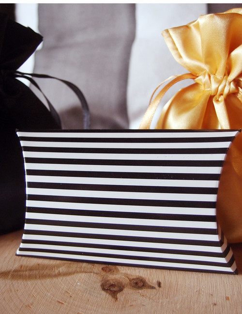 "Paper Pillow Box-Black Stripes 3 1/2""x3""x1"""