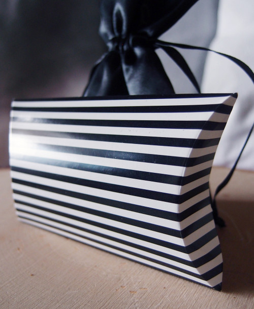 "3 1/2""x3""x1""Paper Pillow Box-Black Stripes"