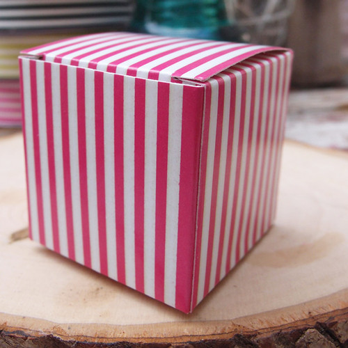 "2""x2""x2""Paper Square Box-Hot Pink Stripes"