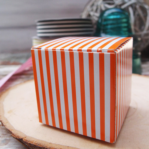 "2""x2""x2""Paper Square Box-Orange Stripes"