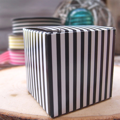 "2""x2""x2""Paper Square Box-Black Stripes"