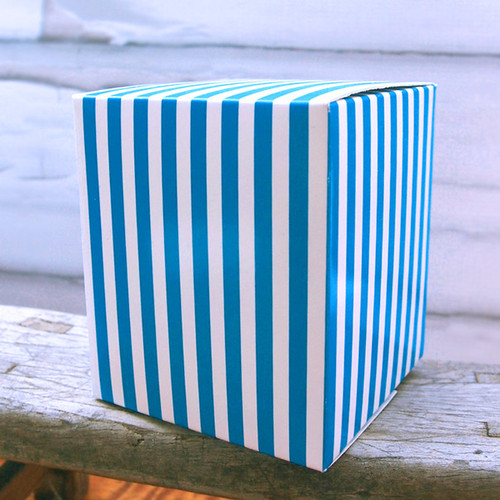 "3 1/4""x3 1/4""x3 3/4""Paper Square Box-Blue Stripes"