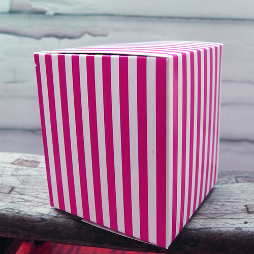 "3 1/4""x3 1/4""x3 3/4""Paper Square Box-Hot Pink Stripes"