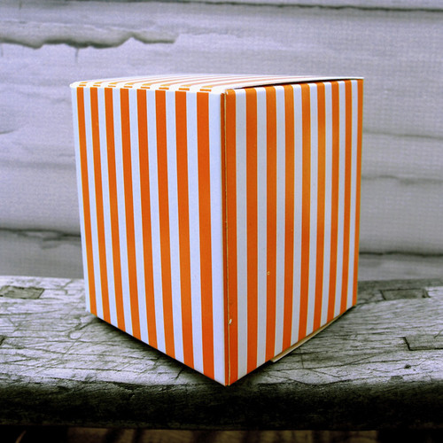"3 1/4""x3 1/4""x3 3/4""Paper Square Box-Orange Stripes"