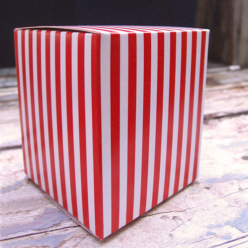 "3 1/4""x3 1/4""x3 3/4""Paper Square Box-Red Stripes"
