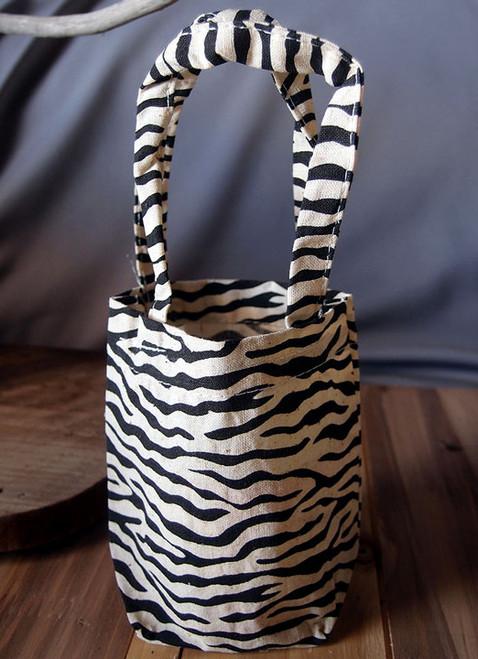 "Small  Zebra Print Cotton Bags 5"" x 5"" x 2"""