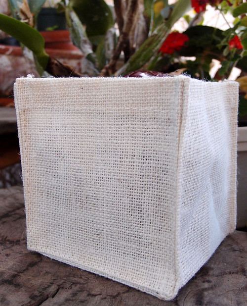 "White Jute Square Holder 5"" x 5"" x 5"""