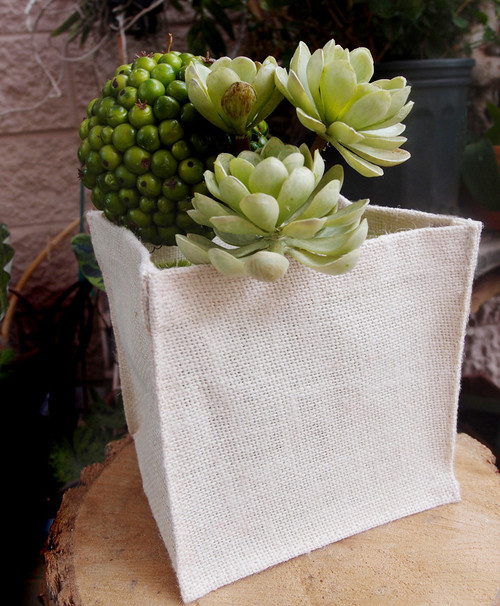"White Jute Square Holder 6"" x 6"" x 6"""