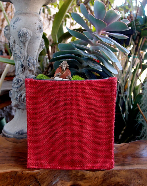 "Red Jute Square Holder 5"" x 5"" x 5"""