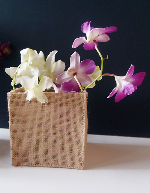 "Natural Jute Square Holder 5"" x 5"" x 5"""