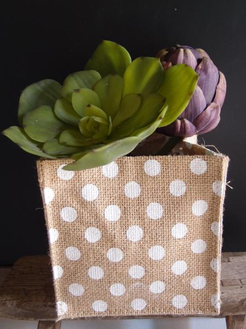 "White Polka Dot Natural Jute Square Holder 6"" x 6"" x 6"""