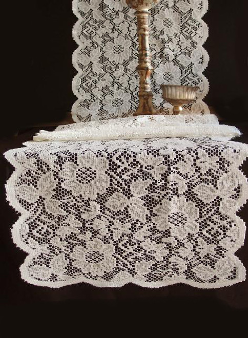 "18""x96"" Ivory Floral Lace Table Runner"