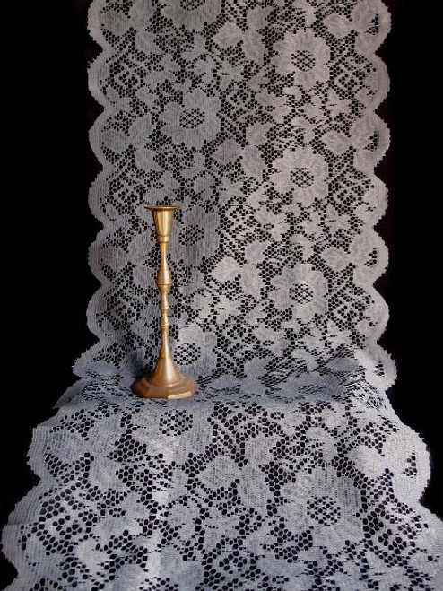 "18""x96"" Pewter Gray Floral Lace Table Runner"