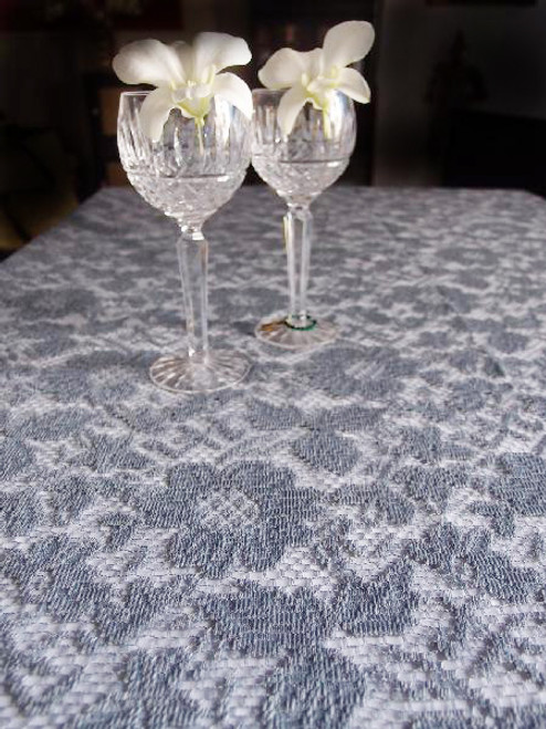 "54""x54"" Gray Floral Lace Square Table Overlay"