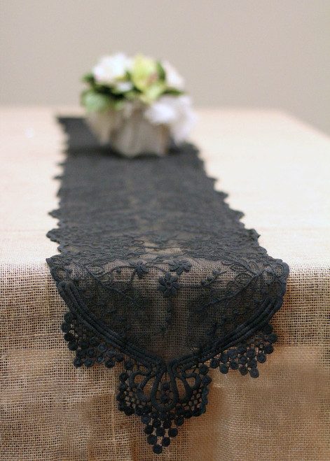 "12""x74"" Black Lace Table Runner"