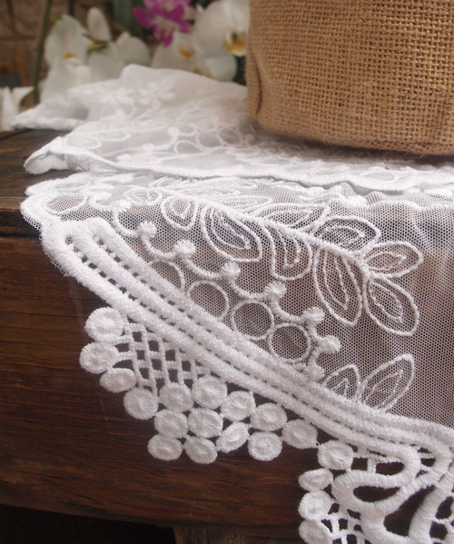 "12""x74"" White Lace Table Runner"