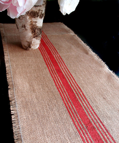 "12 1/2""x108"" Red Striped Jute Table Runner with Fringed Edge"