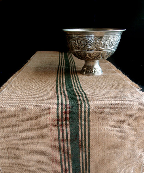 "12 1/2""x108"" Dark Green Striped Jute Table Runner with Fringed Edge"