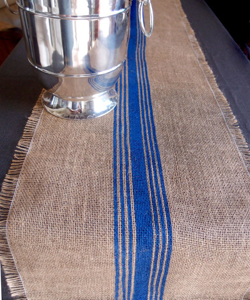 "12 1/2""x108"" Blue Striped Jute Table Runner with Fringed Edge"