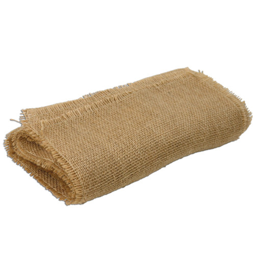 "12 1/2""x96""Jute Table Runner with Fringed Edge"