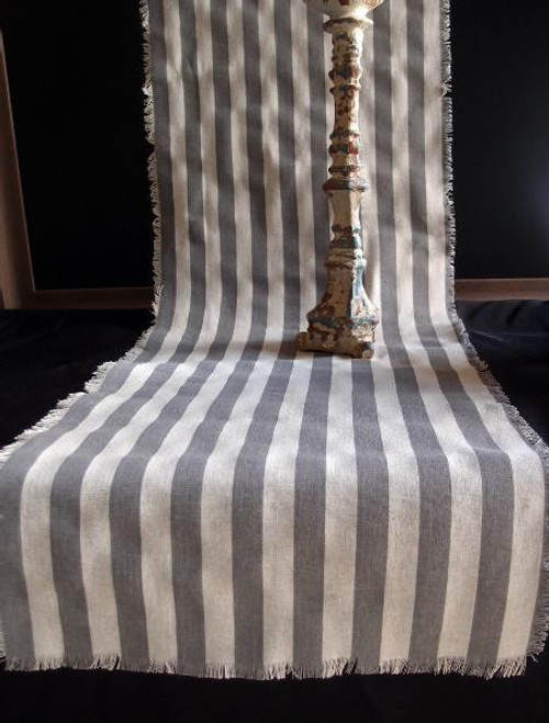 "14 1/2""x108"" Solid Pewter Gray Stripes Linen Table Runner  with Fringed Edge"