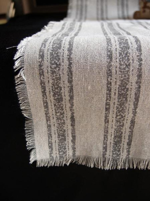 "14 1/2""x108"" Pewter Gray Stripes Linen Table Runner with Fringed Edge"