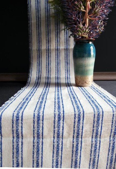 "14 1/2""x108"" Ocean Blue Stripes Linen Table Runner with Fringed Edge"