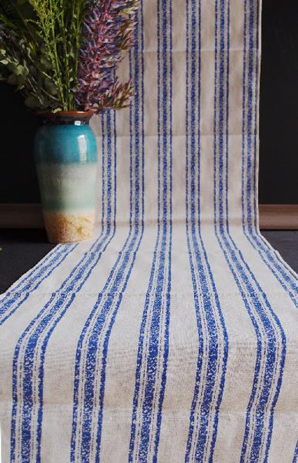 "14 1/2""x108"" Ocean Blue Linen Table Runner with Selvaged Edge"