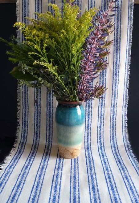"19""x108"" Ocean Blue Stripes Linen Table Runner with Fringed Edge"