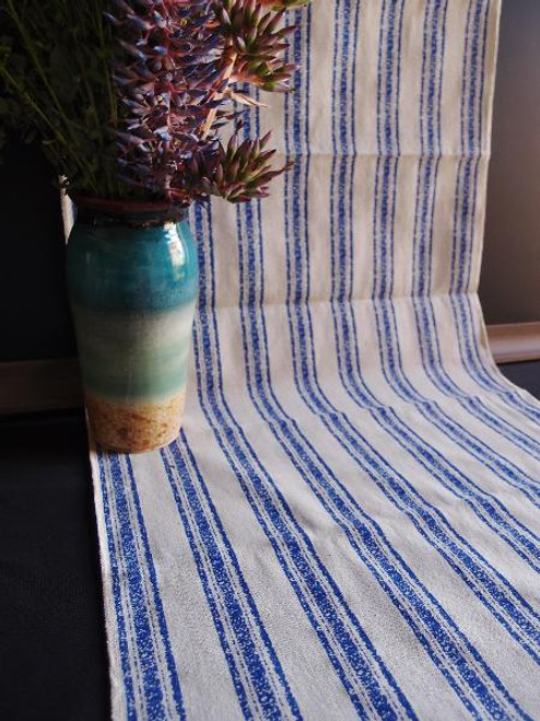 "19""x108"" Ocean Blue Stripes Linen Table Runner with Selvaged Edge"