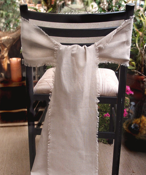 "8""x108"" Linen Table Runner with Fringed Edge"