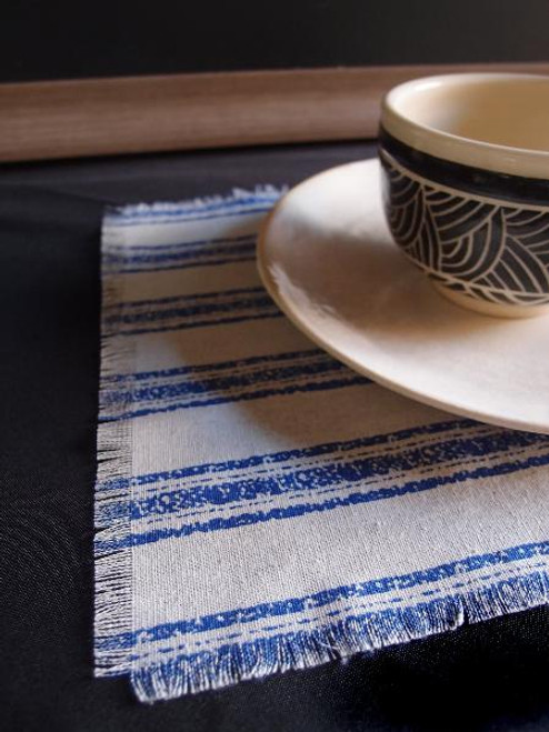 "15 1/2""x11 1/2"" Blue Stripes Linen Place Mat with Fringed Edge"