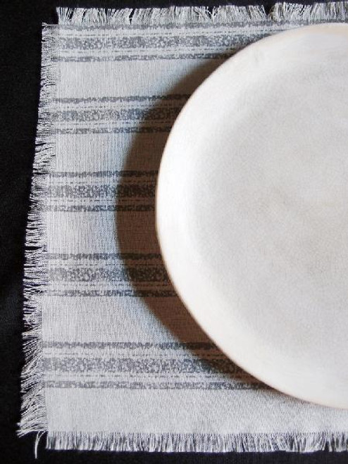 "15 1/2""x11 1/2"" Pewter Gray Stripes Linen Place Mat with Fringed Edge"